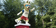 Two Sculptures of Zabivaka the Wolf